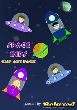 Space Kids clip art pack
