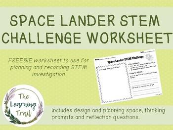 Space Lander STEM Investigation Worksheet  FREEBIE
