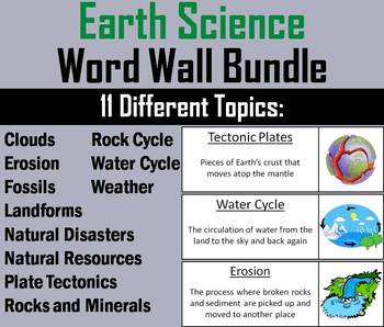 Space, Life, Earth and Physical Science Word Wall Bundle