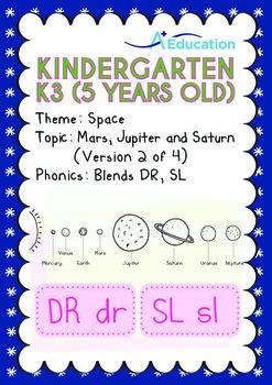 Space - Mars, Jupiter & Saturn (II): Blends DR, SL - Kindergarten, K3 (age 5)