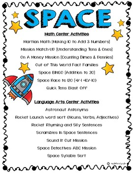 Space Math & Literacy Centers