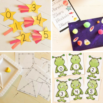 Space Math, Literacy, STEM, and Art Activities for Preschool, Pre-K, & Kinder