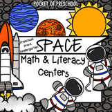 Space Math and Literacy Centers for Preschool, Pre-K, and