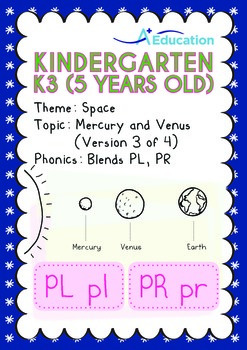 Space - Mercury and Venus (III): Blends PL, PR - Kindergarten, K3 (5 years old)