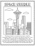 Space Needle Informational Text Coloring Page Craft or Poster, Geography