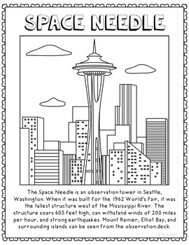 Space Needle Informational Text Coloring Page Craft Or Poster