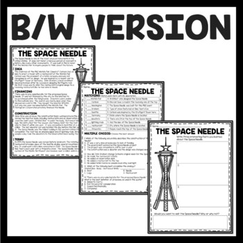 Space Needle Reading Comprehension; American Landmark Seattle Washington