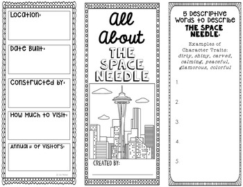 Space Needle Research Project Brochure Template, Geography, History