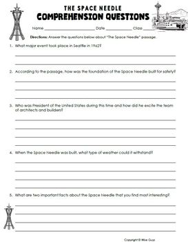 Space Needle of Seattle Informational Text Activity