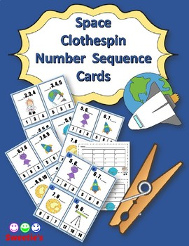 Number Sequence Clothespin and Task Cards - Space Theme