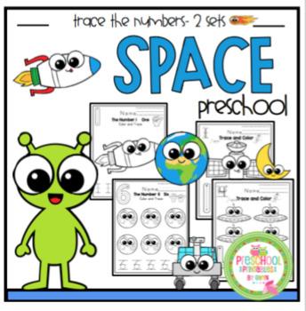 "Space Number Tracing Practice ""No Prep"""