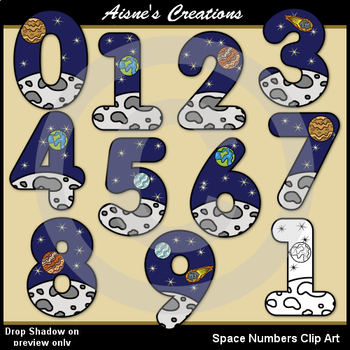 Space Numbers Clip Art