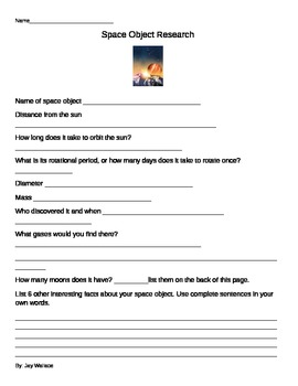 Space Object Research Form