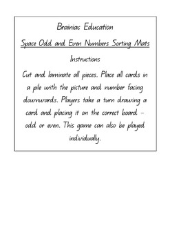 Space Odd and Even Numbers Sorting Mats