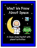 Space  Packet for Kindergarten, 1st grade or early 2nd grade