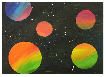 Space Painting Lesson/Activity: all ages (Chalk Pastel & Paint) Great Sub Plan