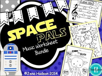 Space Pals Music Worksheet Bundle