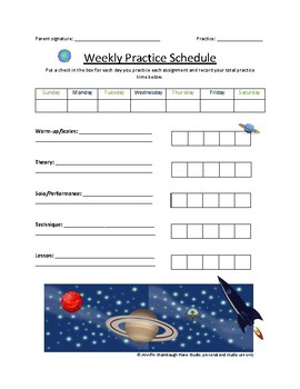 Space Piano Practice Sheet