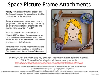 Space Picture Frame Attachments First Day, 100th Day, & Last Day Of School
