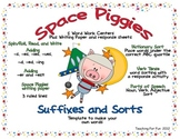 Space Pigs Suffixes- Word Work -s, -es, -d, -ed,-ing, -er,