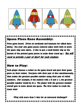 Space Place Race! A Place Value Game