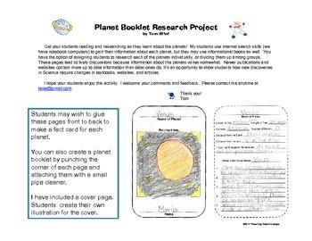 Space Planet Reading Research Webquest Activity Common Core