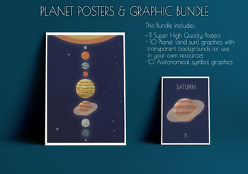 Space Planet Posters - Vintage Retro Style PLUS Clipart graphics!