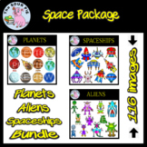 Space:  Planets, Aliens and Spaceships Clipart Bundle