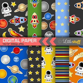 Space, Planets, Astronomy Themed Digital Paper