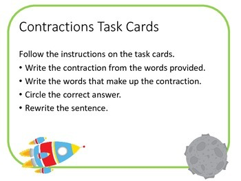 Space / Planets Contraction Task Cards