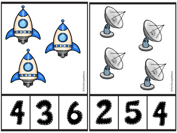 Space Planets Count and Clip Number Cards