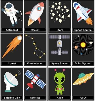 Space & Planets Flashcards, Bingo & Woksheets