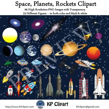 Space Planets and Rockets Clipart