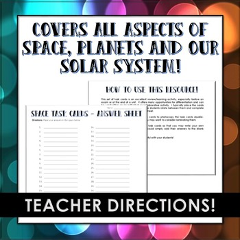 Space, Planets and the Solar System Task Cards - 40 Task Cards with Answer Sheet