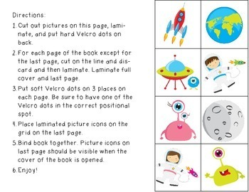 Outer Space Positional Words Book