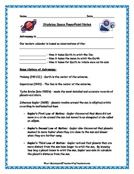 Space Exploration: Studying Space PowerPoint Presentation Student Notes