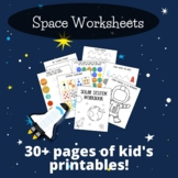 Space Preschool Printables - Solar System Worksheets for P