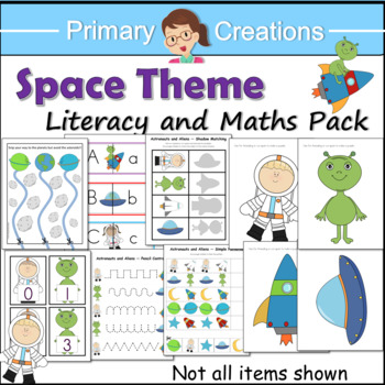 Space Preschool and PreK Literacy,  Maths and Fine Motor Activities