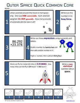 Space No Prep Common Core Math (6th Grade)