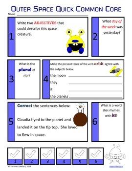 Space No Prep Common Core Literacy (1st grade)