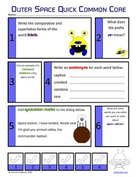Space No Prep Common Core Literacy (4th grade)