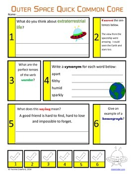 Space No Prep Common Core Literacy (5th grade)