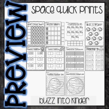 Space Quick Prints for Kindergarten : NO PREP