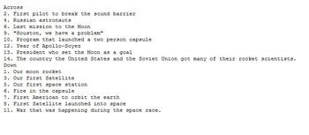 Space Race Crossword Puzzle (NASA Cold War)