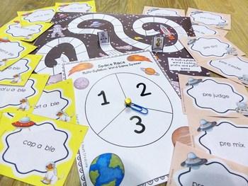 Space Race - Multisyllabic Prefix and Suffix Word Fluency Game
