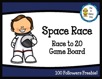 Space Race-Race to 20 Game Board (100 Followers Freebie!)