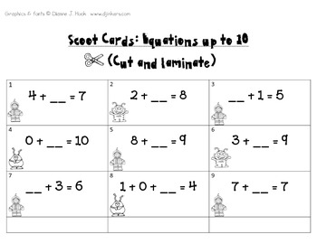 Missing Addends Scoot! (Up to 10) *Common Core Aligned*