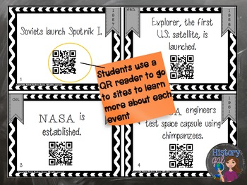 Space Race Task Cards with and without QR Codes