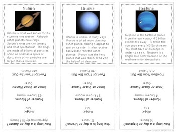 Solar System Reading Comprehension Activities and Reading Passages