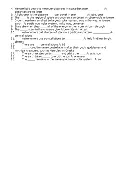 Space Revision Video and Fill-in-the-blanks Worksheet